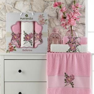 Подарочный набор полотенец для ванной 50х90(2), 70х140(1) Merzuka BALLERINA хлопковая махра розовый