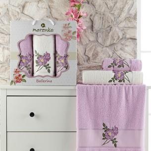Подарочный набор полотенец для ванной 50х90(2), 70х140(1) Merzuka BALLERINA хлопковая махра сиреневый