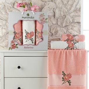 Подарочный набор полотенец для ванной 50х90(2), 70х140(1) Merzuka BALLERINA хлопковая махра оранжевый