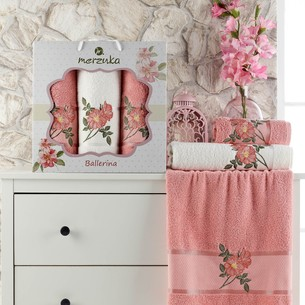 Подарочный набор полотенец для ванной 50х90(2), 70х140(1) Merzuka BALLERINA хлопковая махра персиковый