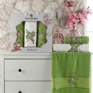 Подарочный набор полотенец для ванной 50х90(2), 70х140(1) Merzuka BALLERINA хлопковая махра зеленый