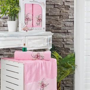 Подарочный набор полотенец для ванной 50х90, 70х140 Merzuka BLOOM хлопковая махра розовый