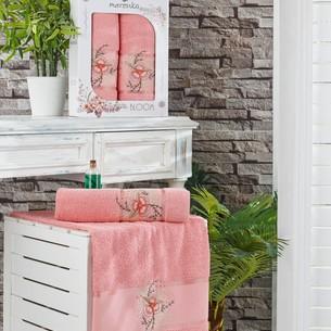 Подарочный набор полотенец для ванной 50х90, 70х140 Merzuka BLOOM хлопковая махра персиковый