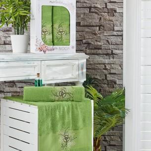 Подарочный набор полотенец для ванной 50х90, 70х140 Merzuka BLOOM хлопковая махра зеленый