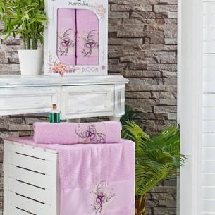 Подарочный набор полотенец для ванной 50х90, 70х140 Merzuka BLOOM хлопковая махра сиреневый