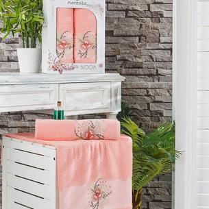 Подарочный набор полотенец для ванной 50х90, 70х140 Merzuka BLOOM хлопковая махра оранжевый