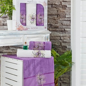 Подарочный набор полотенец для ванной 50х90(2), 70х140(1) Merzuka BLOOM хлопковая махра фиолетовый