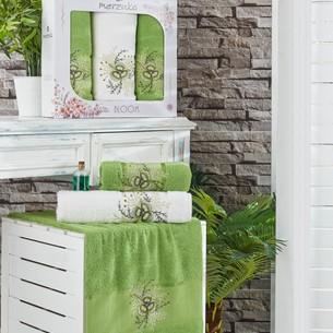 Подарочный набор полотенец для ванной 50х90(2), 70х140(1) Merzuka BLOOM хлопковая махра зеленый