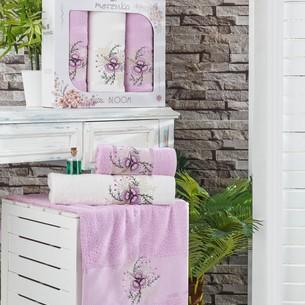 Подарочный набор полотенец для ванной 50х90(2), 70х140(1) Merzuka BLOOM хлопковая махра сиреневый