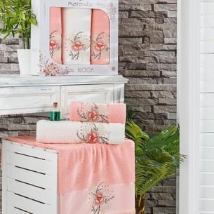 Подарочный набор полотенец для ванной 50х90(2), 70х140(1) Merzuka BLOOM хлопковая махра оранжевый
