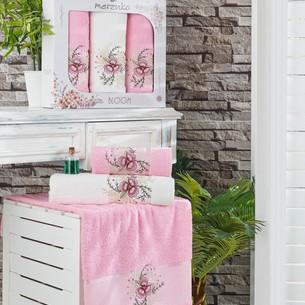 Подарочный набор полотенец для ванной 50х90(2), 70х140(1) Merzuka BLOOM хлопковая махра розовый