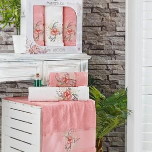 Подарочный набор полотенец для ванной 50х90(2), 70х140(1) Merzuka BLOOM хлопковая махра персиковый