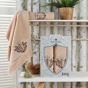Подарочный набор полотенец для ванной 50х90, 70х140 Merzuka KING хлопковая махра бежевый