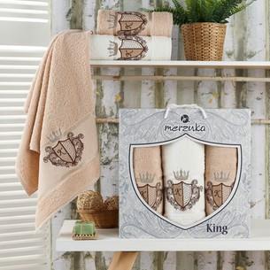 Подарочный набор полотенец для ванной 50х90(2), 70х140(1) Merzuka KING хлопковая махра бежевый