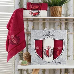 Подарочный набор полотенец для ванной 50х90(2), 70х140(1) Merzuka KING хлопковая махра бордовый