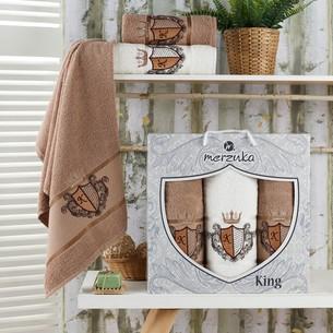 Подарочный набор полотенец для ванной 50х90(2), 70х140(1) Merzuka KING хлопковая махра коричневый