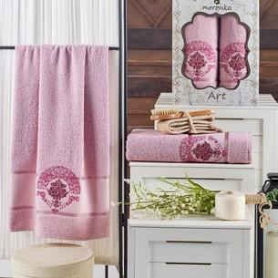 Подарочный набор полотенец для ванной 50х90, 70х140 Merzuka ART хлопковая махра светло-розовый