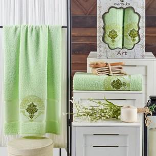 Подарочный набор полотенец для ванной 50х90, 70х140 Merzuka ART хлопковая махра фисташковый