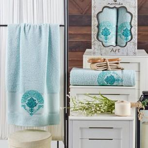 Подарочный набор полотенец для ванной 50х90, 70х140 Merzuka ART хлопковая махра мятный