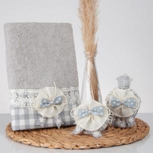 Подарочный набор с полотенцем Nazik Home LUCCA серый