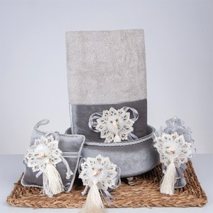 Подарочный набор с полотенцем Nazik Home SWEET серый