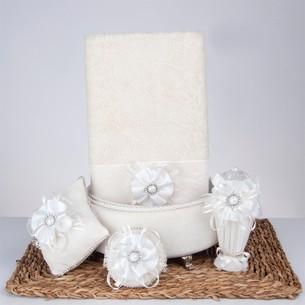 Подарочный набор с полотенцем Nazik Home PARADISE кремовый