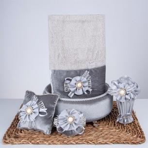 Подарочный набор с полотенцем Nazik Home PARADISE серый