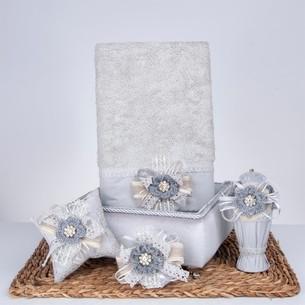 Подарочный набор с полотенцем Nazik Home MIA серый