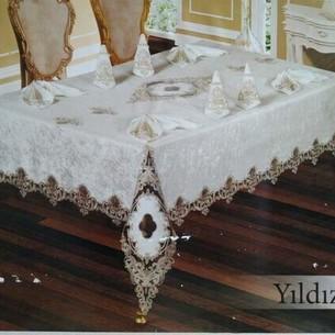 Скатерть прямоугольная с салфетками, кольцами Efor YILDIZ велюр капучино 160х220