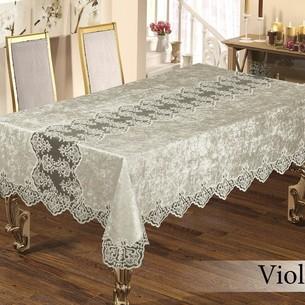 Скатерть прямоугольная с салфетками, кольцами Efor VIOLETTA SET велюр кремовый 160х220
