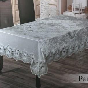 Скатерть прямоугольная Efor PANDORA велюр серый 160х220