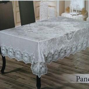 Скатерть прямоугольная Efor PANDORA велюр кремовый 160х220