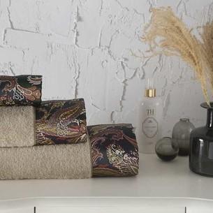 Подарочный набор полотенец для ванной 3 пр. + спрей Tivolyo Home VERSALITE хлопковая махра бежевый