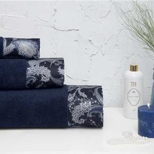 Подарочный набор полотенец для ванной 3 пр. + спрей Tivolyo Home VERSALITE хлопковая махра тёмно-синий