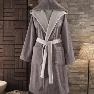 Подарочный набор с халатом Soft Cotton LEAF хлопковая махра коричневый S