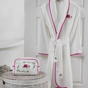 Подарочный набор с халатом Soft Cotton LILY хлопковая махра фуксия L
