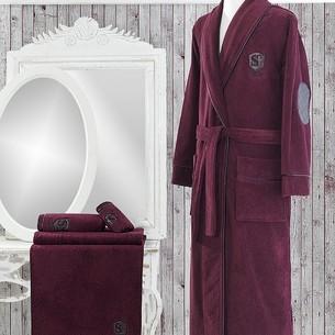 Подарочный набор с халатом Soft Cotton LUXURE хлопковая махра бордовый S
