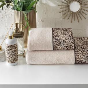 Подарочный набор полотенец для ванной 2 пр. Tivolyo Home TIGER хлопковая махра коричневый