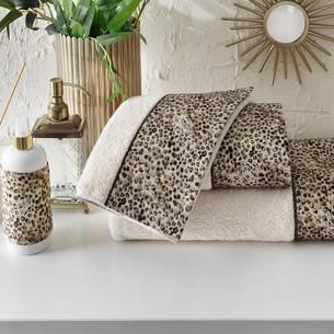 Подарочный набор полотенец для ванной 3 пр. + спрей Tivolyo Home TIGER хлопковая махра коричневый