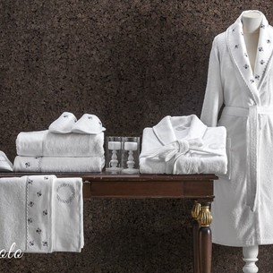 Набор халатов с полотенцами и тапочками Tivolyo Home PICCOLO хлопковая махра лиловый L/XL