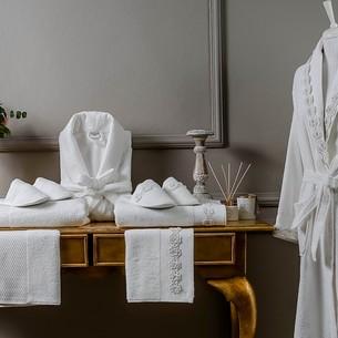 Набор халатов с полотенцами и тапочками Tivolyo Home ROSELLA хлопковая махра L/XL