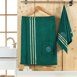 Набор для сауны мужской Juanna SEVAKIN махра хлопок тёмно-зелёный