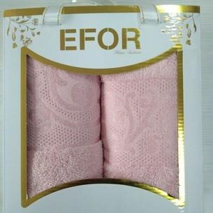 Подарочный набор полотенец для ванной 50х90, 70х140 Efor BAMBOO ELITE бамбуковая махра персиковый