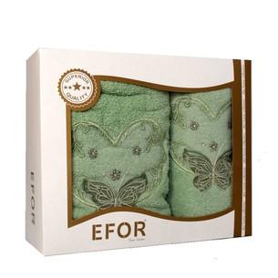 Подарочный набор полотенец для ванной 50х90, 70х140 Efor ANGEL хлопковая махра зеленый