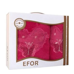 Подарочный набор полотенец для ванной 50х90, 70х140 Efor ANGEL хлопковая махра ярко-розовый