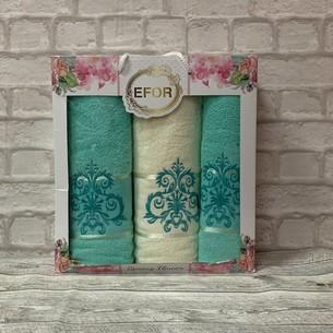 Подарочный набор полотенец для ванной 50х90(2), 70х140(1) Efor Орнамент хлопковая махра бирюзовый