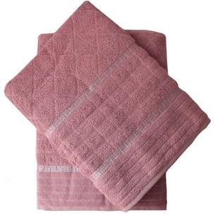 Набор полотенец для ванной 50х90, 70х140 Efor GEOMETRI хлопковая махра сухая роза