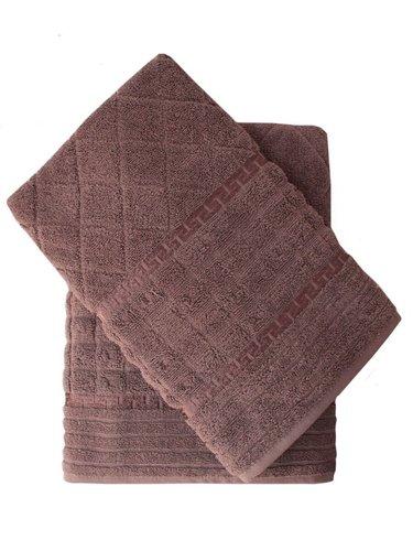 Набор полотенец для ванной 50х90, 70х140 Efor GEOMETRI хлопковая махра хаки, фото, фотография