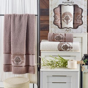 Подарочный набор полотенец для ванной 50х90(2), 70х140(1) Merzuka ART хлопковая махра коричневый