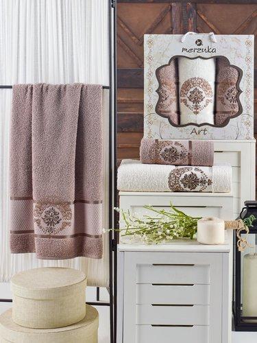 Подарочный набор полотенец для ванной 50х90(2), 70х140(1) Merzuka ART хлопковая махра коричневый, фото, фотография